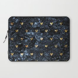 Gold Glitter Hearts on Blue-Black Scratched Suede Laptop Sleeve
