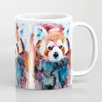 red panda Mugs featuring Red panda by Slaveika Aladjova