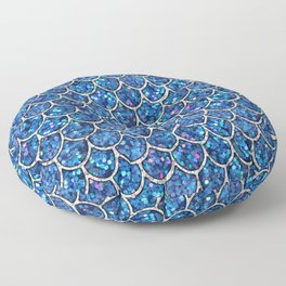 Sparkly Blue & Silver Glitter Mermaid Scales Floor Pillow