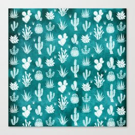 Cactus Pattern on Teal Canvas Print