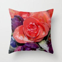 Snow settling on a top of Bouquet of flowers Throw Pillow