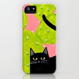 Black Cat with Cactus iPhone Case