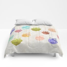 Colorful Watercolor Christmas Ornaments Comforters