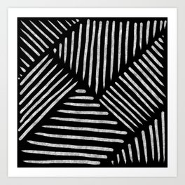 Lines and Patterns in Black and White Brush Art Print