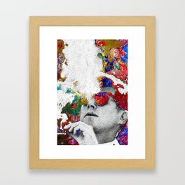 John F Kennedy Cigar And Sunglasses Colorful Framed Art Print
