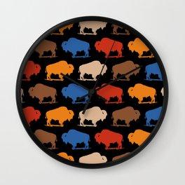 Colorful Buffalo Bison Pattern 277 Wall Clock