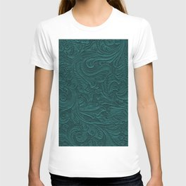 Deep Teal Tooled Leather T-shirt