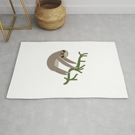 cute Three-toed sloth on green branch Rug