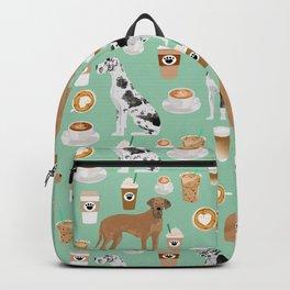 Great Dane coffee cafe dog breed pattern custom pet portrait Backpack
