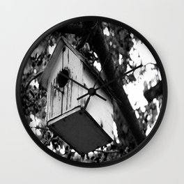 Black and white bird house Wall Clock