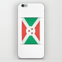 Flag of Burundi.  The slit in the paper with shadows. iPhone Skin