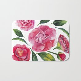 Watercolor camellia Bath Mat