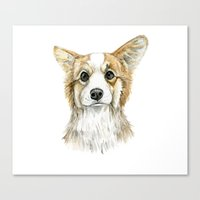 corgi Canvas Prints featuring Corgi by Leanne Engel