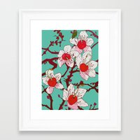 cherry blossoms Framed Art Prints featuring Cherry Blossoms by minniemorrisart