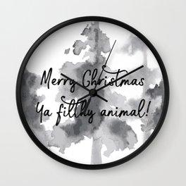 Merry Christmas ya filthy animal! Wall Clock