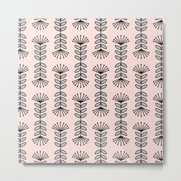 Retro Pink Floral Pattern-Mix and Match with Simplicity of Life Metal Print