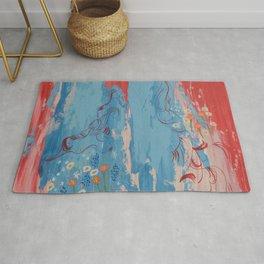 Red and Blue Abstract Flower Field Painting by Jodi Tomer. Rug
