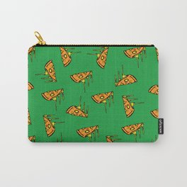 Pepperoni Pizza Dripping Cheese by the Slice Pattern (green) Carry-All Pouch