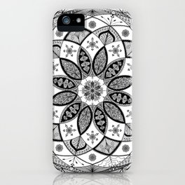 Mandala black white art pattern floral design iPhone Case