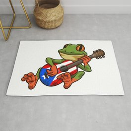 Coqui Frog Playing Guitar - Boricua Animal Rug