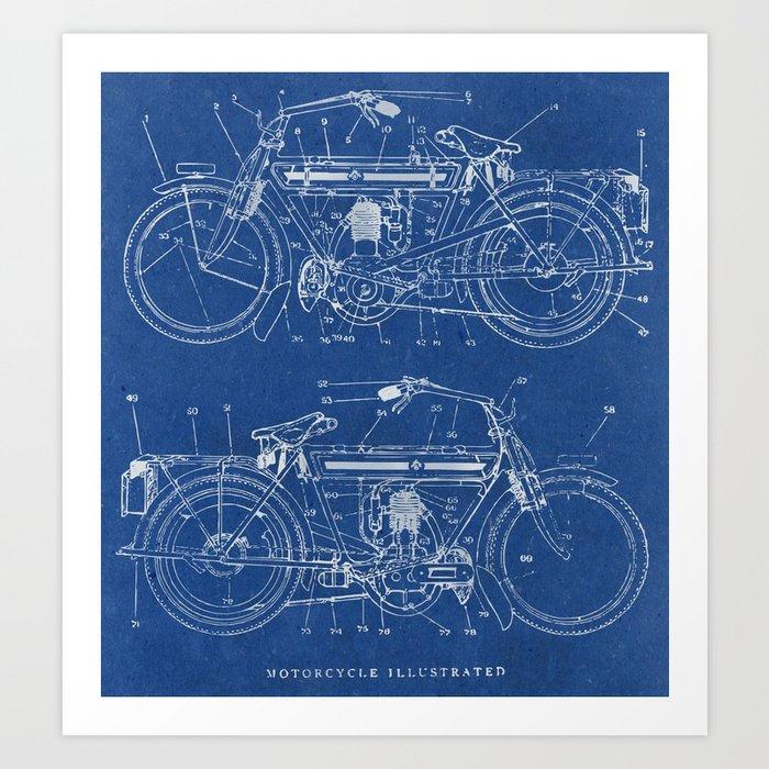 Motorcycle blueprint art print by marcusmelton society6 motorcycle blueprint art print malvernweather Gallery