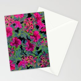 vivid pink petunia on black background Stationery Cards