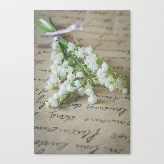 Love letter with lily of the valley Canvas Print