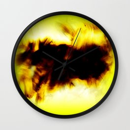 Hole In My Heart Black White Yellow Abstract Wall Clock