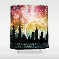 moonrise Shower Curtains featuring Moonrise by Jenndalyn