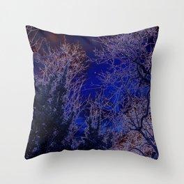 Psychadelic trees frame the moon Throw Pillow
