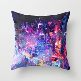Cyberpunk City Throw Pillow