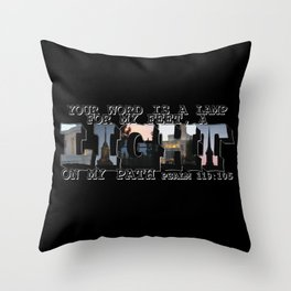 A Light on My Path Psalm 119:105 Big Letter Throw Pillow
