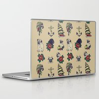 pugs Laptop & iPad Skins featuring Pugs and the sea by Huebucket