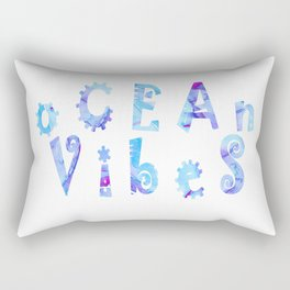 oCEAn VibeS | Tropical Cyan Teal & Magenta Watercolor Rectangular Pillow