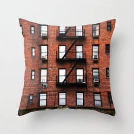 Red Brick Living in New York City  Throw Pillow