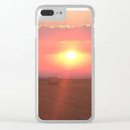 sunrise over a wheat field Clear iPhone Case