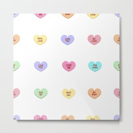 Colorful sweet heart candy. Sweetheart candies. Conversation sweets for valentines day Metal Print