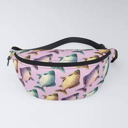 Colorful fishes pattern with pinkish background Fanny Pack