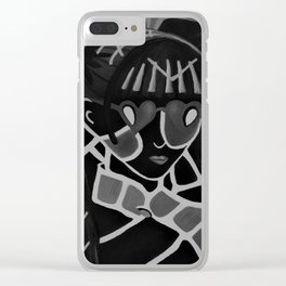 Girl from the Past by Lu, black-and-white Clear iPhone Case