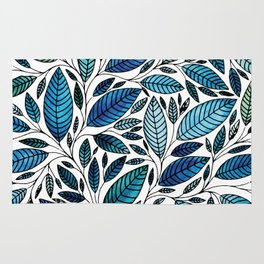 Blue Leaves / leaf Illustration (P07 063) Rug
