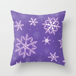 snowflakes on the blue Throw Pillow