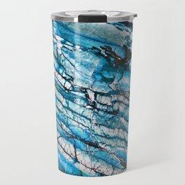 Blue Marble with Black Travel Mug