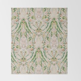 Green Pink Leaf Flower Paisley Throw Blanket