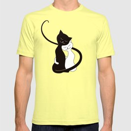 White And Black Cats In Love (red) T-shirt