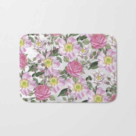 Vintage Rose Pattern Pink and White Bath Mat