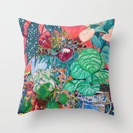 Jungle of Houseplants and Flowers on Bright Coral Pink with Wild Cats Throw Pillow