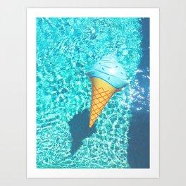 blue ice cream cone float all up in my pool yo Art Print