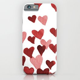 Valentine's Day Watercolor Hearts - red iPhone Case