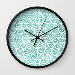 Watercolor Mermaid Turquoise Wall Clock