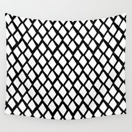 Rhombus White And Black Wall Tapestry